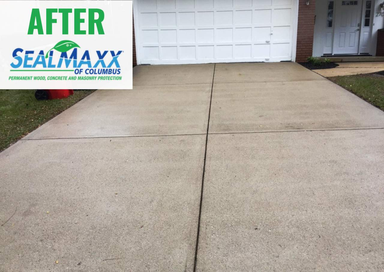 Concrete driveway after it was sealed by SealMaxx