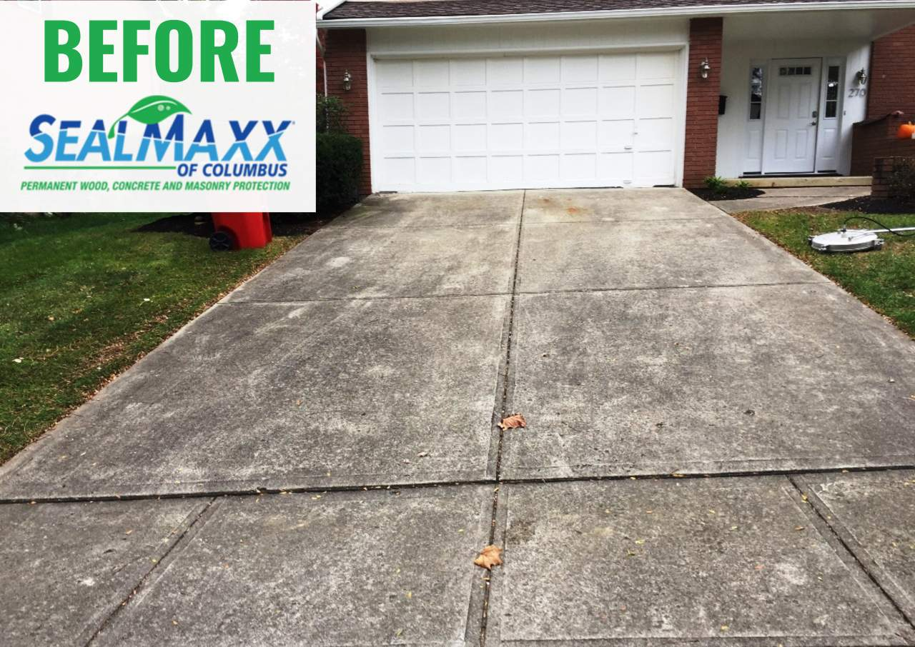 Concrete driveway before it was sealed by SealMaxx